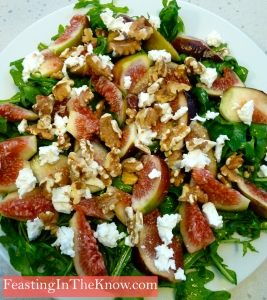 My fig, goat's cheese, walnut and rocket salad