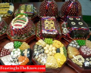 Korean market scene.  Festive sweets.