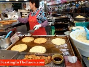 Korean pancake stall at market.