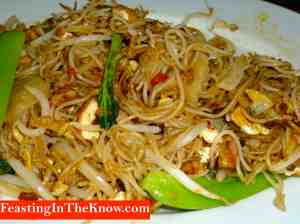 Rice vermicelli fried with belacan