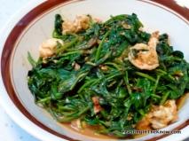 Kangkung with sambal belacan and prawns