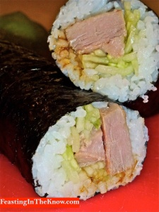 Roast duck sushi rolls