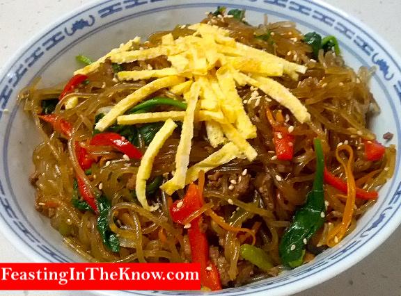 Japchae Korean sweet potato noodles