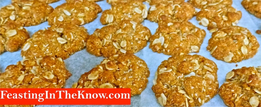 Row of Anzac cookies